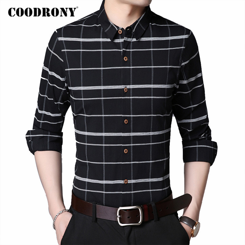 COODRONY Brand Fashion Striped Long Sleeve Shirt Men Spring Autumn Social Business Casual Mens Shirts Cotton Chemise Homme C6027