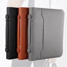 LOGO Custom A4 Multifunctional File Folder Portable Business Zipper Bag Manager Folder PU Leather Portfolio Calculator Sales Bag