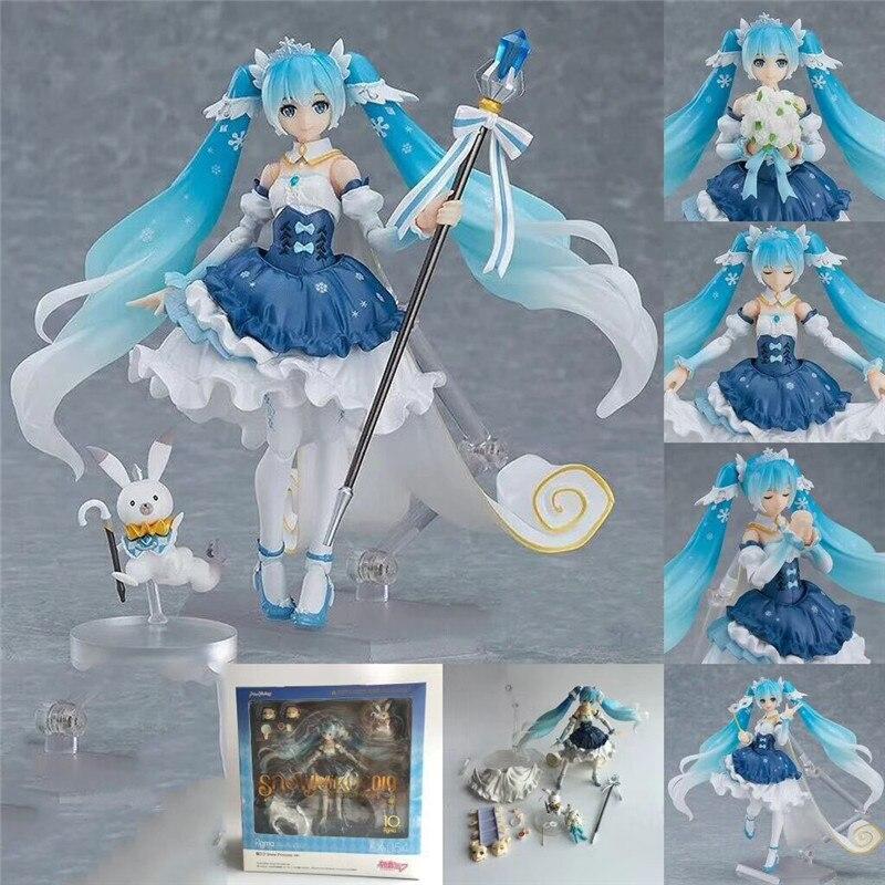 Bandai hatsune o décimo aniversário neve miku princesa anime figura modelos japonês virtual cantor bonecas shf periferia brinquedos novos