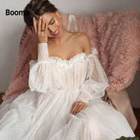 Booma New Design Off shoulder Puffy Sleeve Dot Tulle Wedding Dresses for Bridal 2019 Open Back Long Sleeve 3D Flower Bride Gown