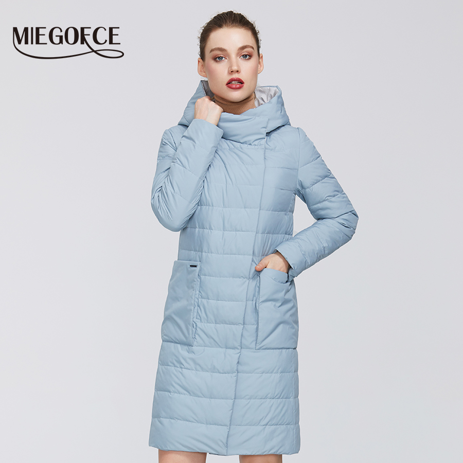 MIEGOFCE 2020 Spring Women´s Cotton Jacket Windproof Raincoat Medium Length Resistant Button Collar With Hood Overhead