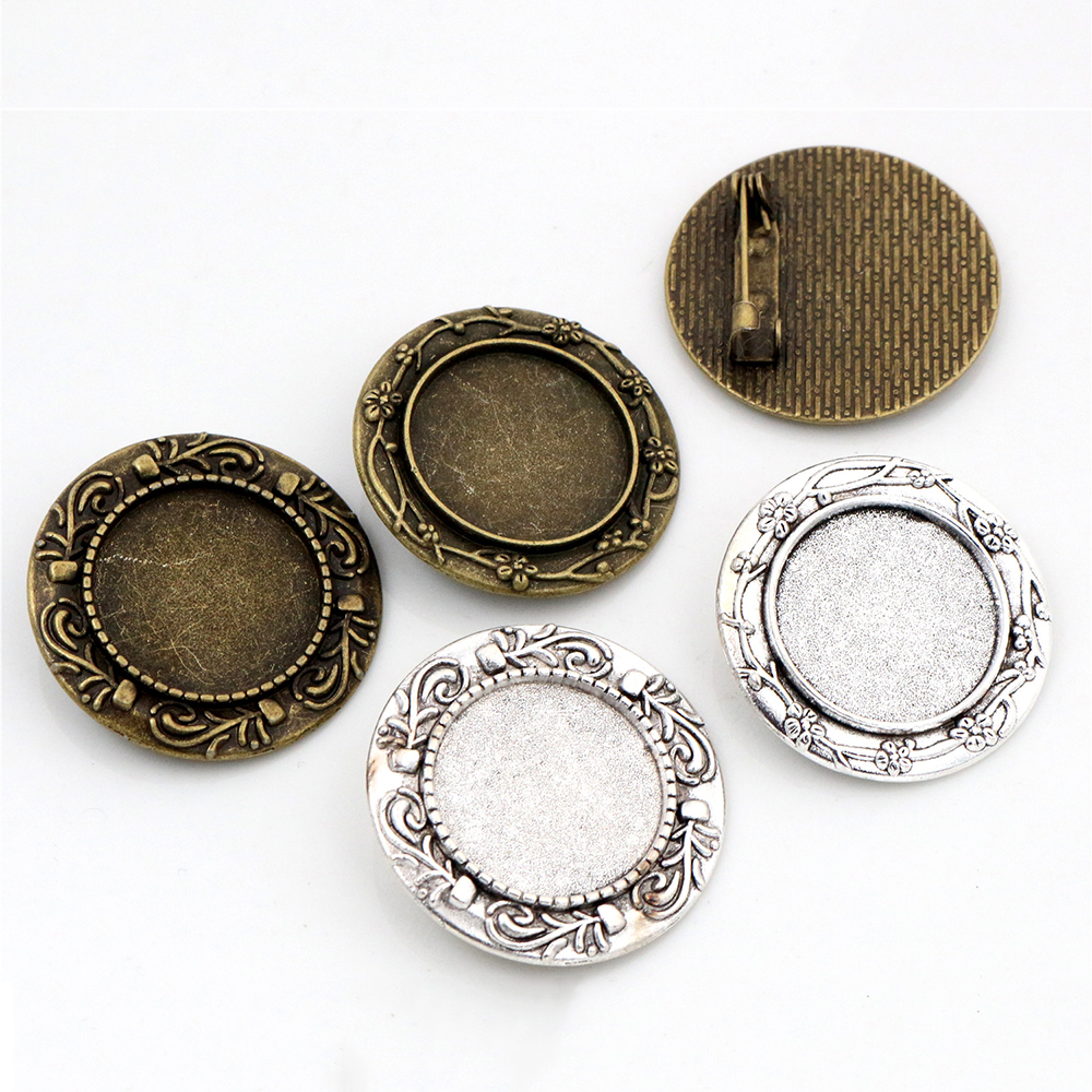 2pcs 20mm Inner Size 2 Style Antique Silver Plated And Antique Bronze Brooch Pin Cabochon Base Setting