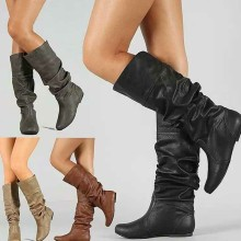 Vrouwen Lente Herfst Platte Lange Pu Soft Leather Motorcycle Boot Schoenen Lady Party Ontwerp Wedge Laarzen Schoenen Plus Size 35 -43(China)