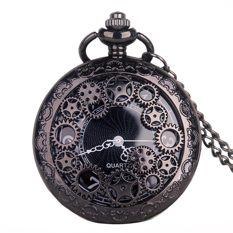 Antique Copper Quartz Pocket Watch Vintage Bronze Gear Hollow Necklace Pendant Clock With FOB Chain Men's Women Gifts