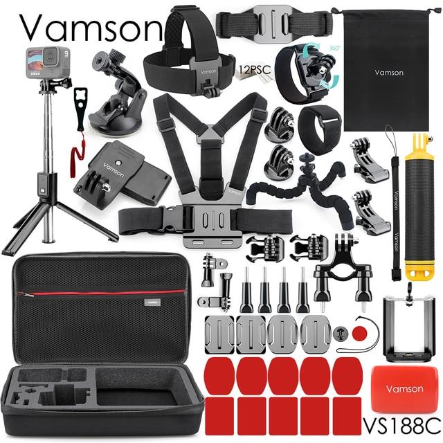 Vamson New Mini Universal Tripod Monopod Large Package Set for Go Pro Hero 9 8 7 6 5 4 Accessories for Eken h8r for phone VS188 1