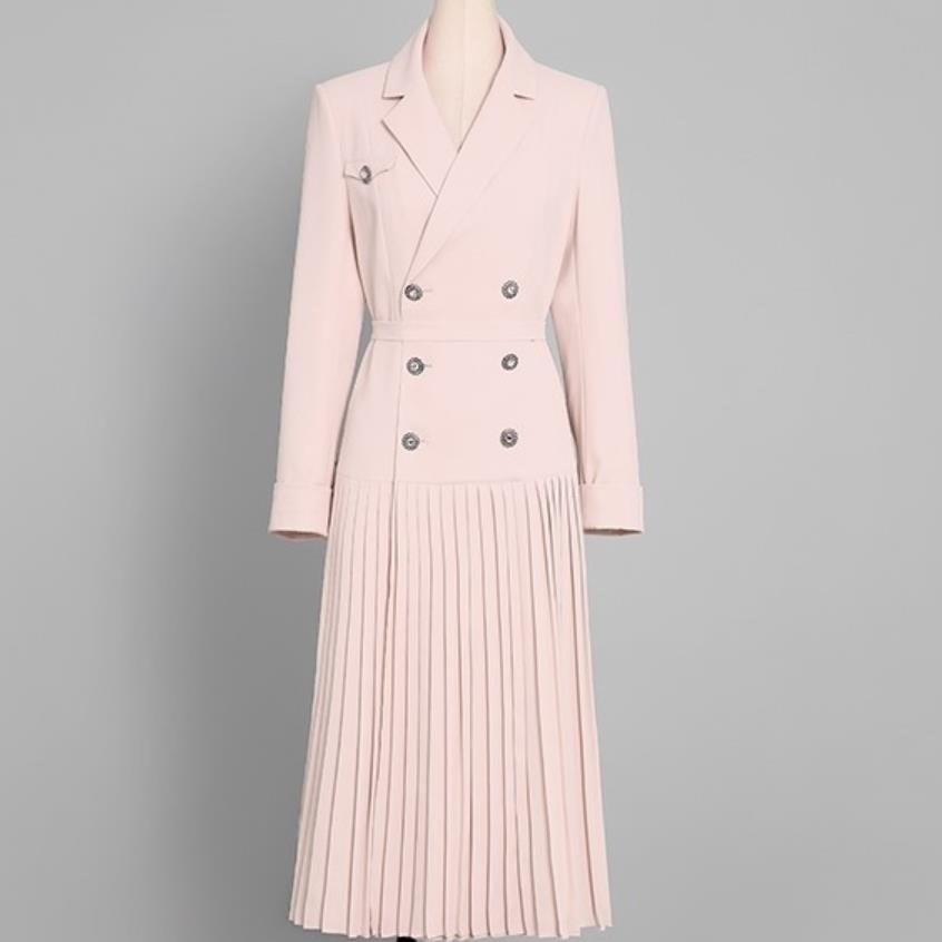 retro long coat over the knee coat women's spring Double-breasted slim   trench