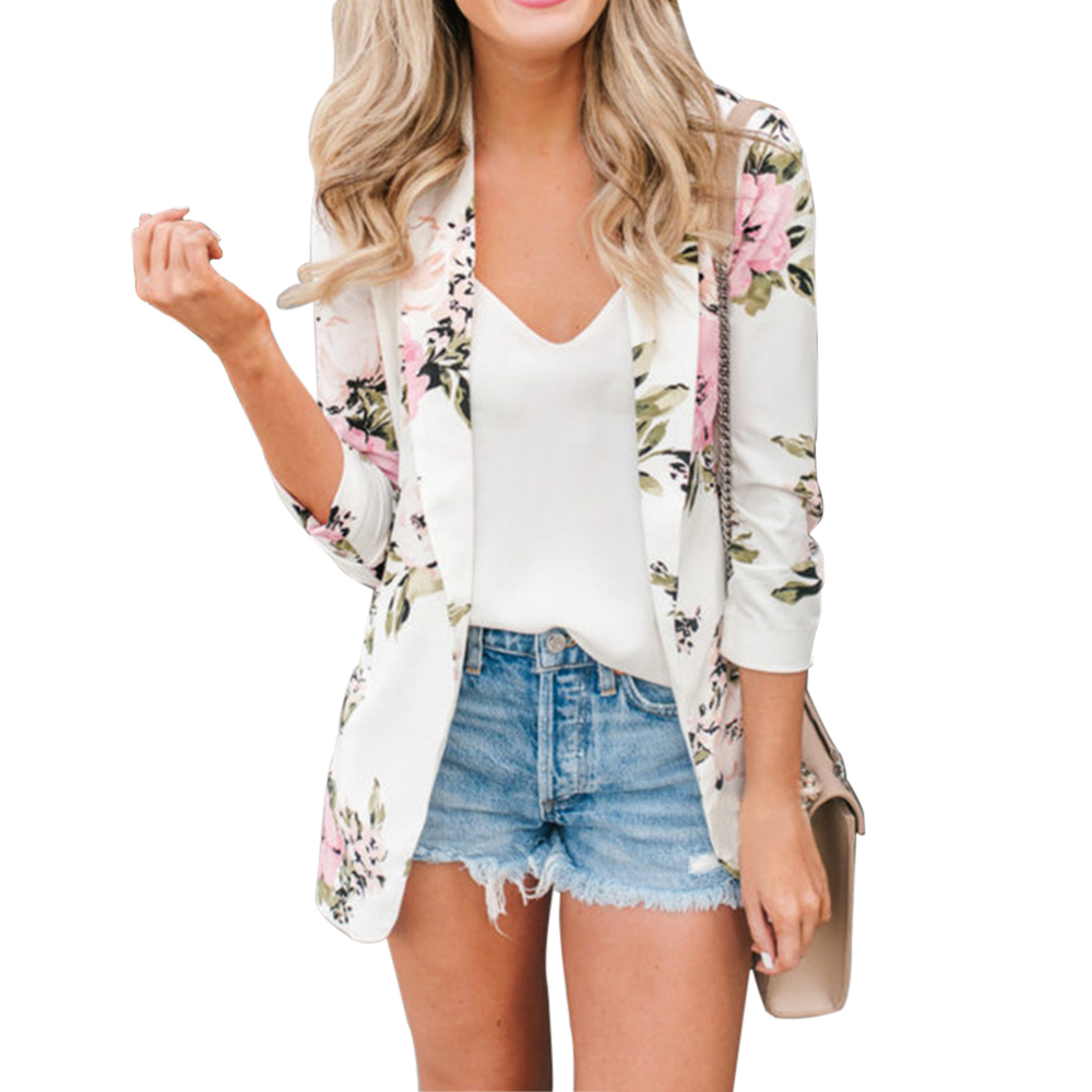 CALOFE Floral Blazer Feminino Women Floral Long Sleeve Blazer Notched Collar Coat Female Outerwear Women Blazers And Jackets