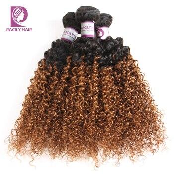 Racily Hair 1/3/4 Pcs Ombre Hair Bundles Brazilian Kinky Curly Hair Weave Bundles Deals Remy T1B/30 Ombre Human Hair Extensions 2