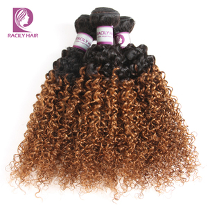 Image 2 - Racily Hair Ombre Hair Bundles Brazilian Kinky Curly Hair Weave Bundles Remy T1B/30 Brown Burgundy Ombre Human Hair Extensions