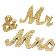 цена на 3 pcs/set  Wedding Decorations Marriage Decor Mr & Mrs Birthday Party Decorations White Black Gold Silver Letters Wedding Sign