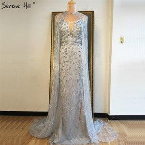 Image 2 - גריי בת ים שרוולים צעיף חוט ערב שמלות 2020 דובאי יוקרה ואגלי קריסטל פורמליות שמלת Serene היל LA70399