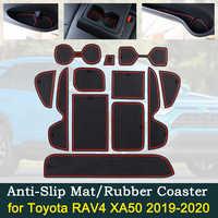 Anti-slip Auto Tür Gummi Tasse Kissen Rot Tor Slot Pad für Toyota RAV4 XA50 RAV 4 50 MK5 2019 2020 innen Matte Zubehör