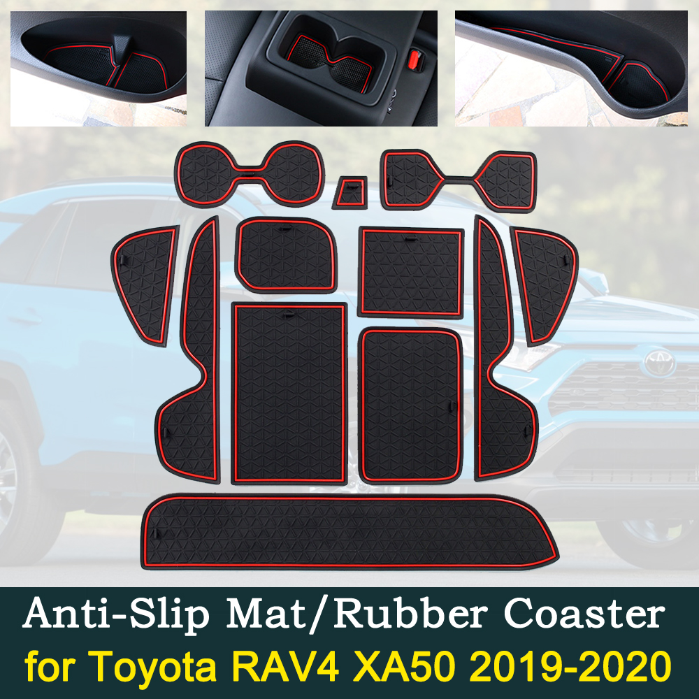 Anti-slip Car Door Rubber Cup Cushion Red Gate Slot Pad For Toyota RAV4 XA50 RAV 4 50 MK5 2019 2020 Interior Mat Accessories