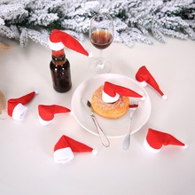 10pcs/lot Mini Christmas Decoration Hats Red Santa Claus Hat Bottle Cap for Home Dinner Party Table Xmas