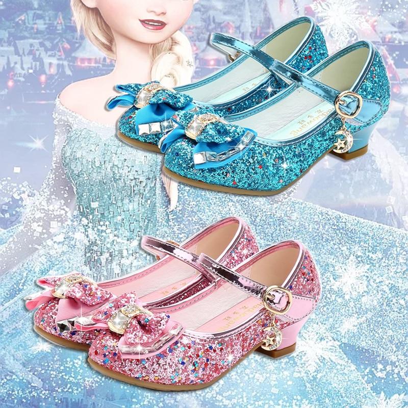 Children Princess Shoes For Girls Sandals High Heel Glitter Rhinestone Enfants Fille Female Party Dress Shoes Elsa Shoes Girls
