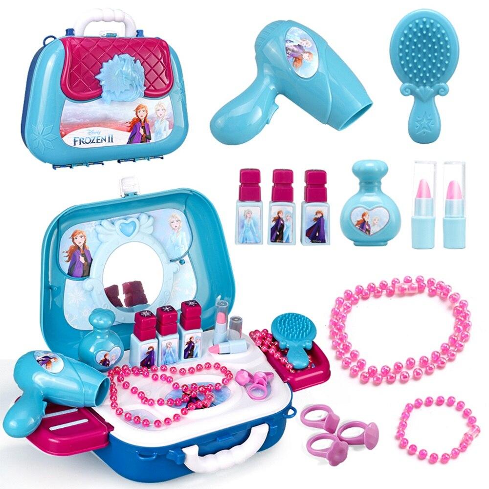 Disney Prinzessin Gefrorene Spielzeug Spielen Haus Kinder Spielzeug Mädchen Simulation Kosmetik Lagerung Box Kinder Waschbar Dressing Make-Up Spielzeug Set