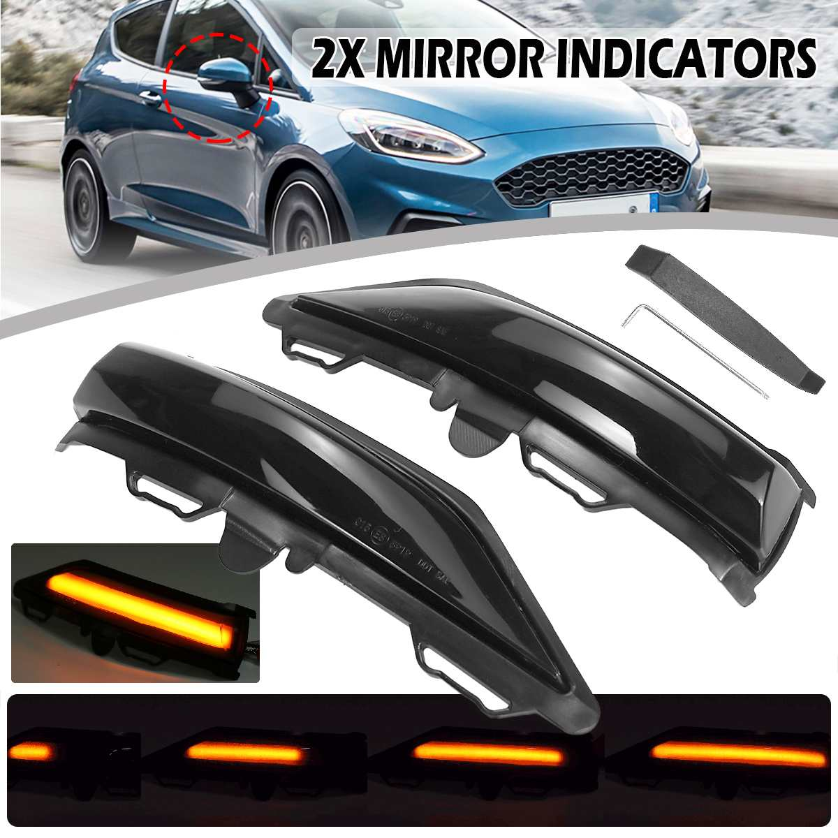 2pcs LED Side Wing Rearview Mirror Dynamic Indicator Flowing Turn Signal Blinker Repeater Light For Ford For Fiesta MK8 19+ Mk7