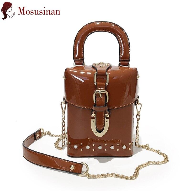 Luxury Handbag For Women 2019 New Rivet Totes Fashion Shoulder Bag Ladies Patent Leather Designer Chain Crossbody Bag Box Bag