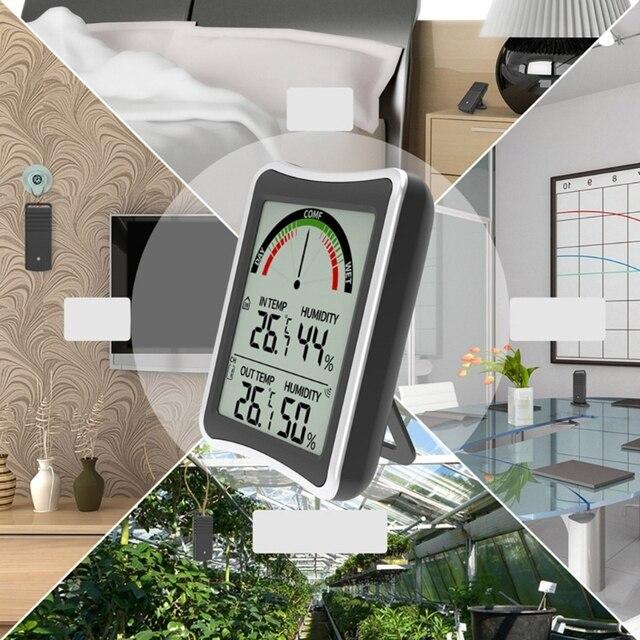 50 metro 164ft estação meteorológica sem fio ao ar livre indoor max min termômetro higrômetro hytransmitter com sensor de previsão transmissor