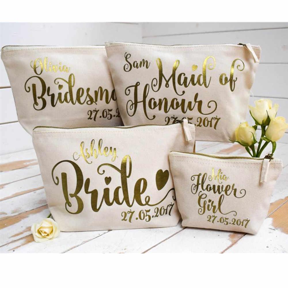 אישית זהב רדיד חתונה קוסמטי אמא של הכלה איפור תיק מתנת יום הולדת שושבינה איפור שקיות פרח ילדה רחצה