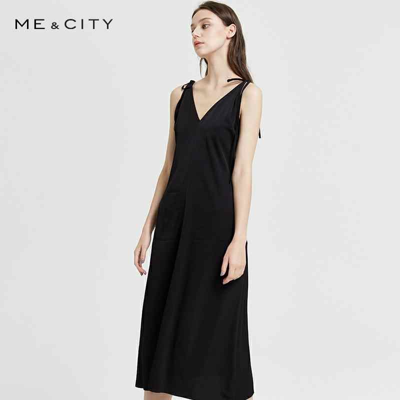 Me&City Elegant v-neck sequined long dress women Spaghetti Office Lady strap dresses Elegant body