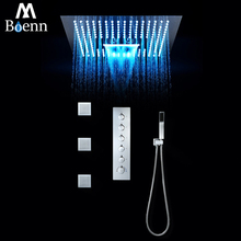 Bathroom Shower Faucet Thermostatic Touch Screen LED Rainfall,Waterfall,Misty Head 40*40cm Polished With Body Jets