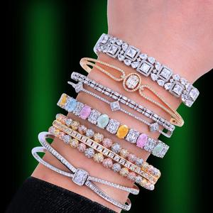 Image 1 - GODKI Trendy Luxury Stackable Bangle Cuff For Women Wedding Full Cubic Zircon Crystal CZ Dubai Bracelet Party Jewelry2019