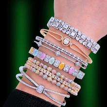 Godki トレンディ高級スタッカブルバングルため女性の結婚式フルキュービックジルコンクリスタル cz ドバイブレスレットパーティー Jewelry2019