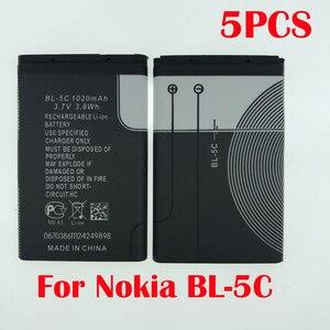 100% оригинальный 5 шт. BL5C, аккумулятор для Nokia 1100, 1110, 1200, 1208, 1280, 1600, 2700, 3100, 3110, 5130, 6230i, n70, n72