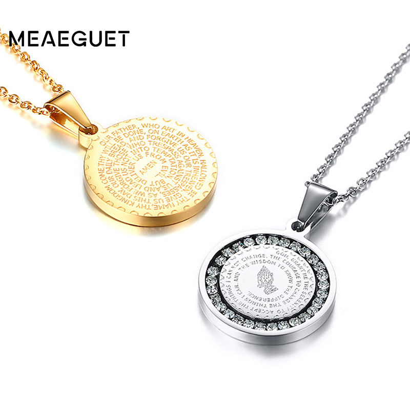 Hand Coin Medal Pendant Bible Verse Prayer Men Women Necklace Stainless Steel Gold silver color Couple Jewelry