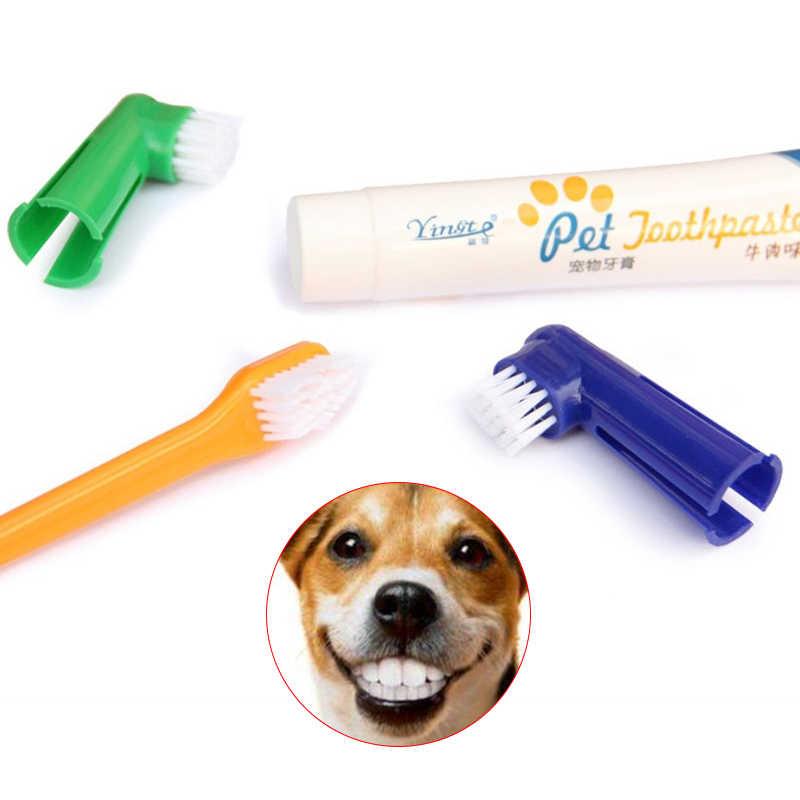Pet Hond Kat Tandenborstel Set Hot Puppy Rundvlees Smaak Hond Tandenborstel Tandpasta Borstel Hoofd Vinger Tand Back Up Borstel Care set