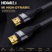 8K HDMI כבל מתאם נחושת 30AWG כבל UHD HDR 48Gbps 8K @ 60Hz 4K @ 120Hz HDMI Ycbcr4:4:4 ממיר עבור PS4 טלוויזיות Hdtv מקרנים