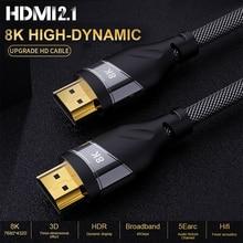8K HDMI Kabel Adapter Kupfer 30AWG Kabel UHD HDR 48Gbps 8K @ 60Hz 4K @ 120Hz HDMI Ycbcr4:4:4 konverter für PS4 HDTVs Projektoren