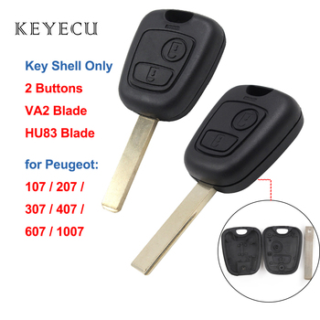 Keyecu Replacement Remote Key Shell Case Cover 2 Buttons for Peugeot 307 107 207 407 607 1007, VA2/HU83 Blade for Choice image