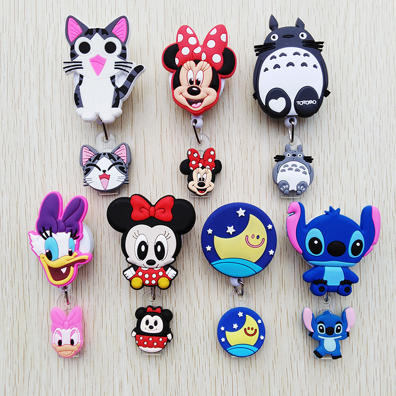 1 Pcs/lot New Creative Cartoon Animal Retractable Pull Badge Reel ID Name Tag Card Nurse Badge Holder Lovely Cartoon Pimp Reels
