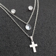 Hot Cross Zircon Pendant Double Necklace Crystal Ear stud Stainless Steel Jewlery for Women Wedding jewelry Sets Valentines Day(China)