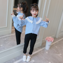 2019 New Autumn School Girls jean shirt+ black Pants 2pcs Children toddler children clothes Set for 6 8 9 10 15 years 3246