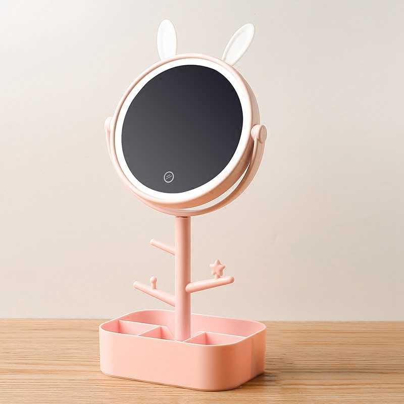 Зеркало для макияжа со светодиодной подсветкой настольное зеркало вращающееся увеличительное стекло 4 раза для хранения женский макияж лампа Abs с коробкой для хранения