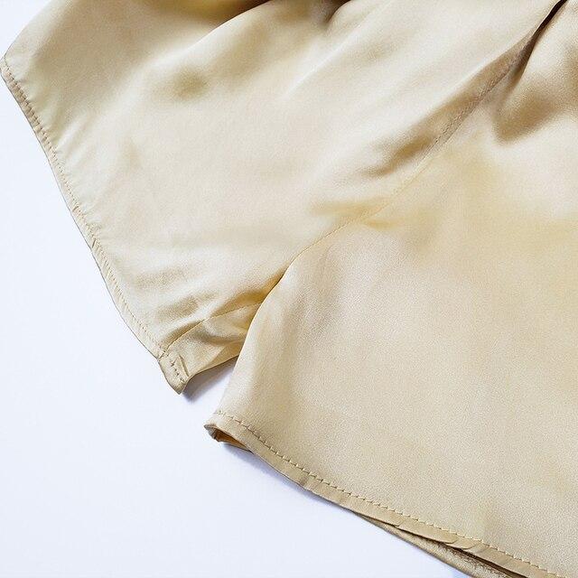 SuyaDream Woman Silk Shorts 19mm 100%Silk Satin Comfortable Healthy Elastic Waist Home Shorts 2021 Spring Summer Solid Short 4