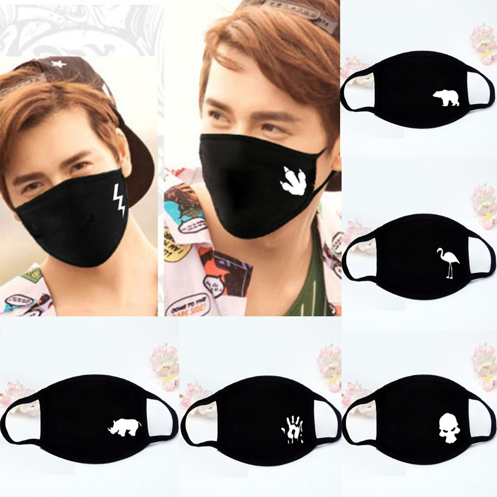 1Pc Unisex Winter Warm Thick Half Face Mouth Mask Cotton Cartoon Pattern Print Anti-Dust Anti-Bacterial Respirator Classic Black