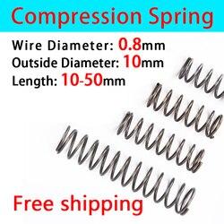 Compressed Spring Release Spring Pressure Spring Return Spring Mechanical Spring Wire Diameter 0.8mm, Outer Diameter 10mm