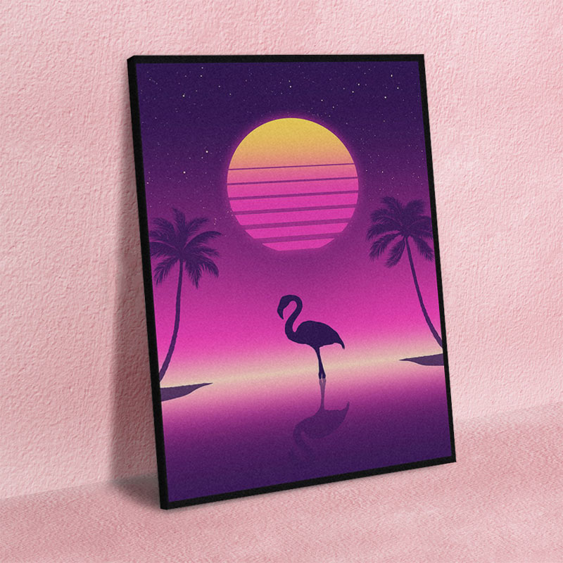 Canvas Print Painting Wall Flamingo Retrowave Synthwave 80S Art Posters Modular Cuadros Home Decor Picture Living Room No Frame
