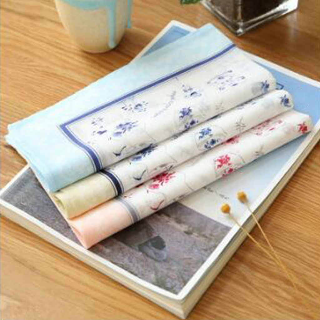 2x Flower Handkerchief Lady Square Pocket  Women 100% Cotton Flower Handkerchiefs Comfy Hanky Hankies Kerchief