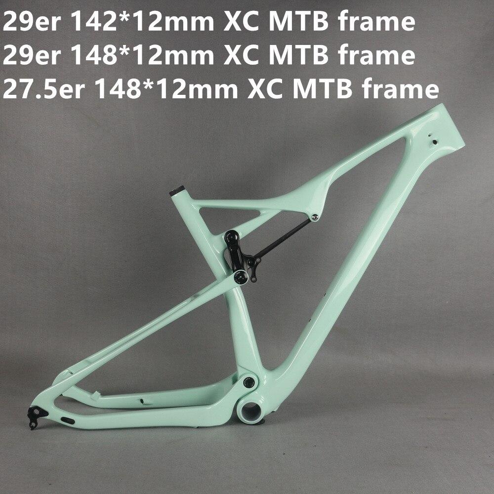 Full Suspension  BB92 Custom Paint 29er 148x12mm Size 19 Carbon MTB  Bike Frame FM06