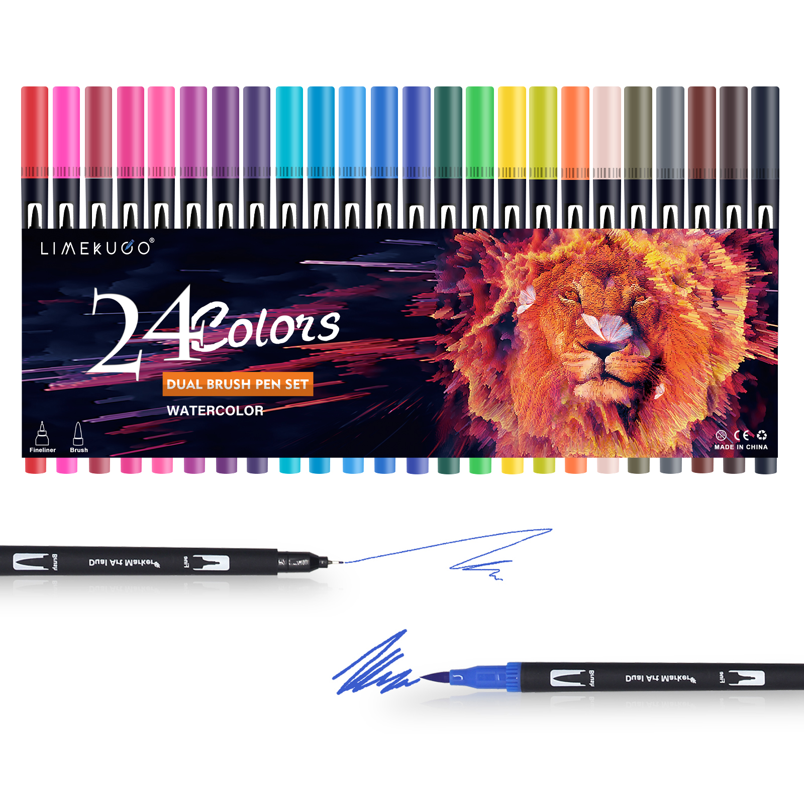24 Colors Watercolor Pens Drawing Painting Dual Tip Brush Art Markers Pen for Colouring, Sketching, Painting