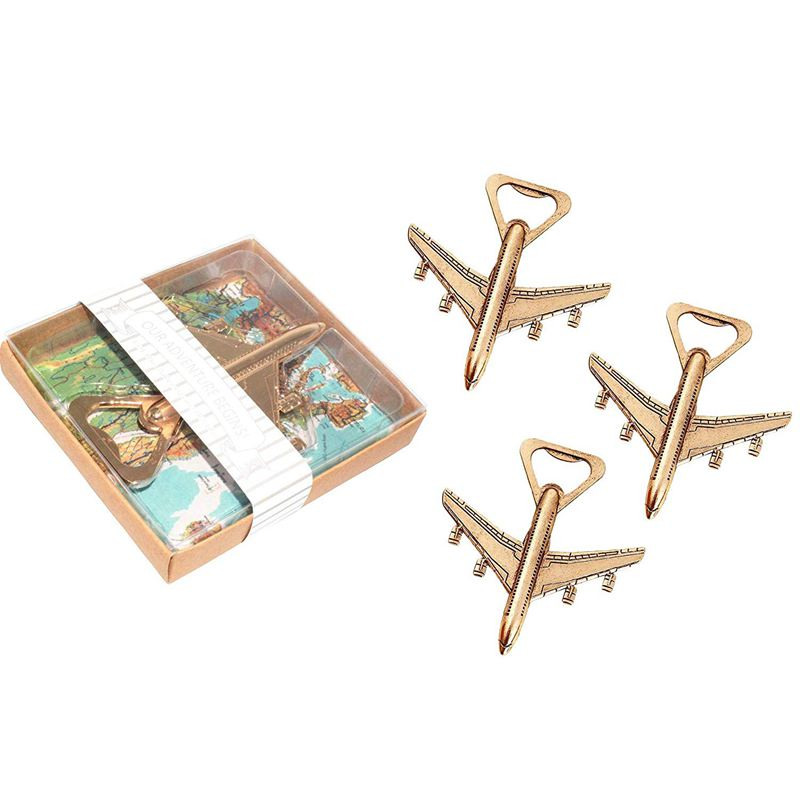 Hot XD-Pack of 12 Airplane Bottle Opener Gift Box Air Plane Travel Beer Bottle Opener Party Favor Wedding Birthday Decorations image