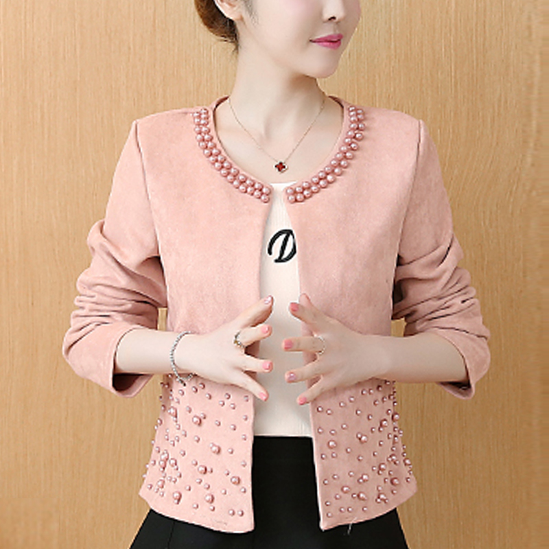 chaquetas mujer 2019 long sleeve autumn jacket women clothes plus size 4XL pink elegant beading outwear Innrech Market.com