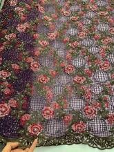 ハイグレード手ビーズ刺繍フレンチメッシュアフリカレース生地刺繍ナイジェリアレースはイブニングドレススカートドレス生地
