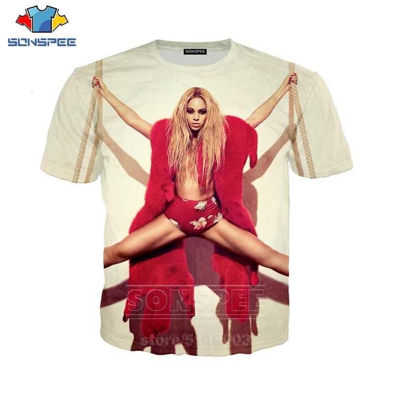비욘세 T 셔츠 여름 남성 여성 운동복 3D 인쇄 섹시한 가수 짧은 소매 힙합 스트리트 탑 O 넥 패션 풀오버 C034