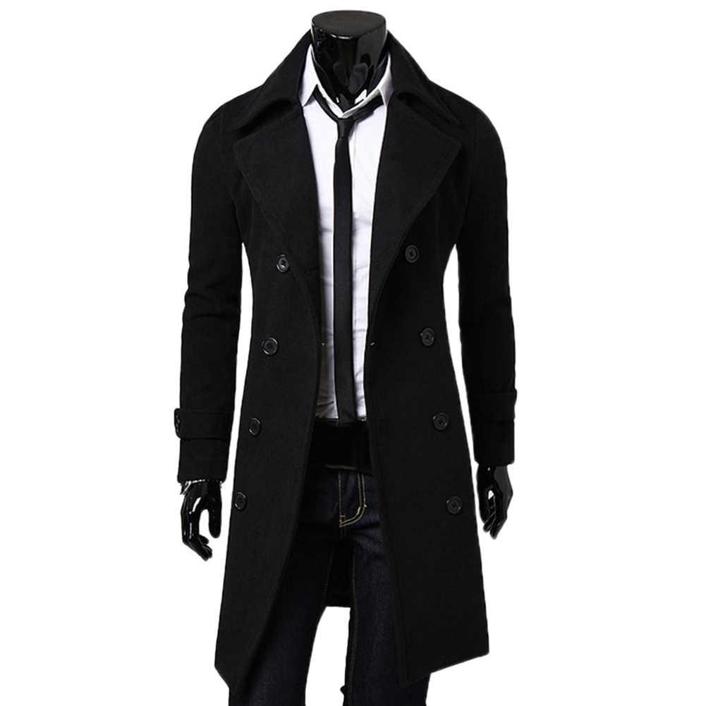 Moda ceket erkekler yün ceket kış sıcak katı uzun trençkot göğüslü iş rahat palto Parka